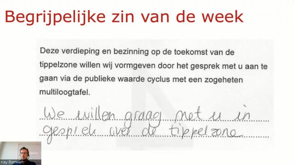 De voorbeeldzin van gemeente Utrecht