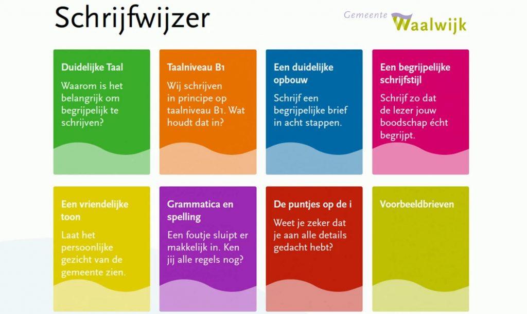 Een pagina uit de Schrijfwijzer van gemeente Waalwijk